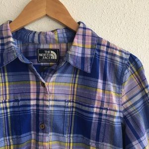 The North Face blue pink button down shirt L